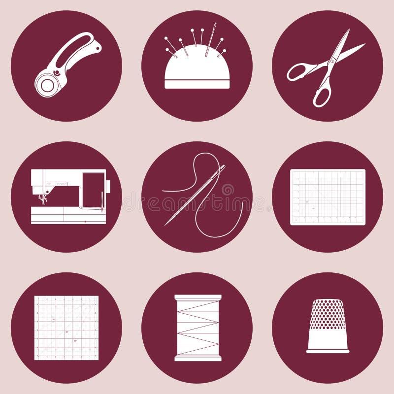 Iconos del edredón y del remiendo, materiales consumibles y herramientas para coser, el applique, los artes de la materia textil  ilustración del vector
