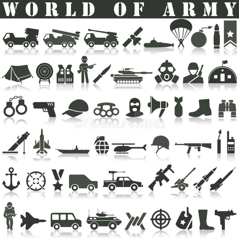 Iconos del ejército fijados stock de ilustración