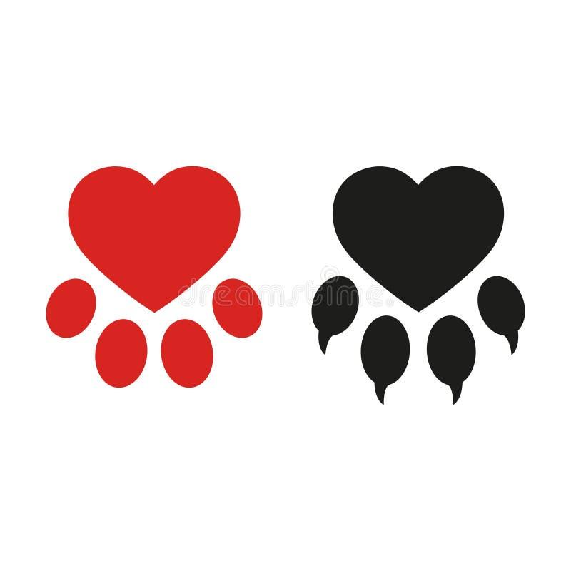 Iconos del ejemplo, perro del símbolo de la pata del perro con el corazón libre illustration