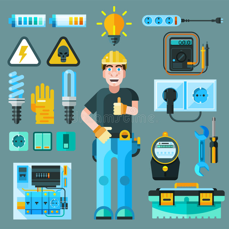 Iconos del electricista fijados libre illustration