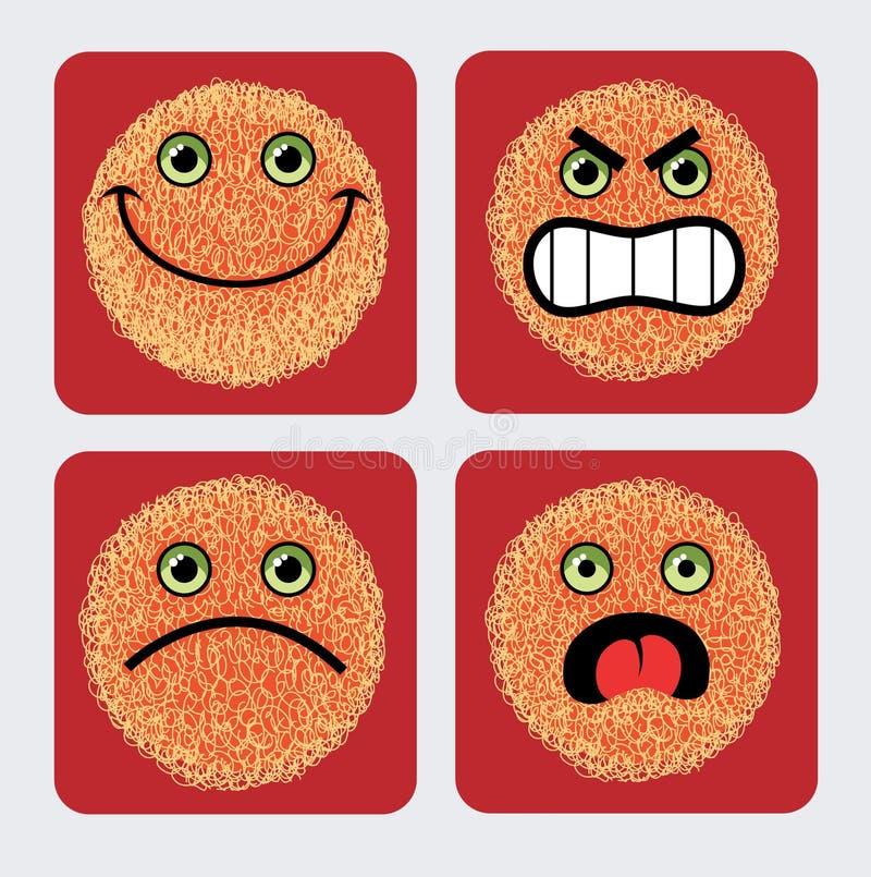 Iconos del Emoticon - expresión de las caras stock de ilustración