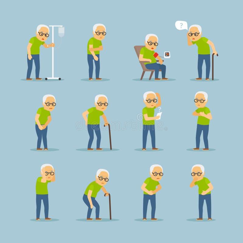 Iconos del enfermo del viejo hombre ilustración del vector