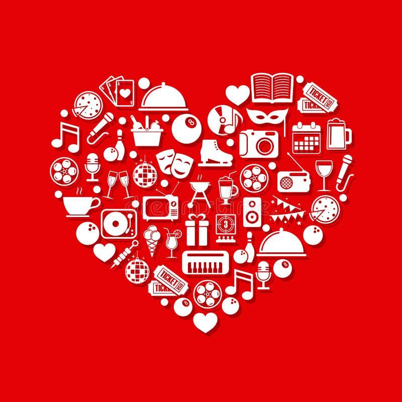 Iconos del entretenimiento en corazón libre illustration