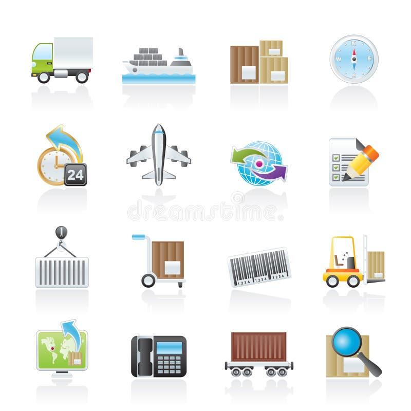 Iconos del envío y de la logística libre illustration