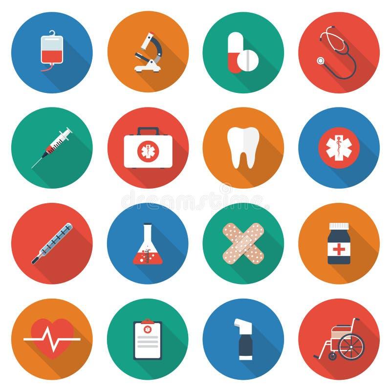 Iconos del equipamiento médico ilustración del vector