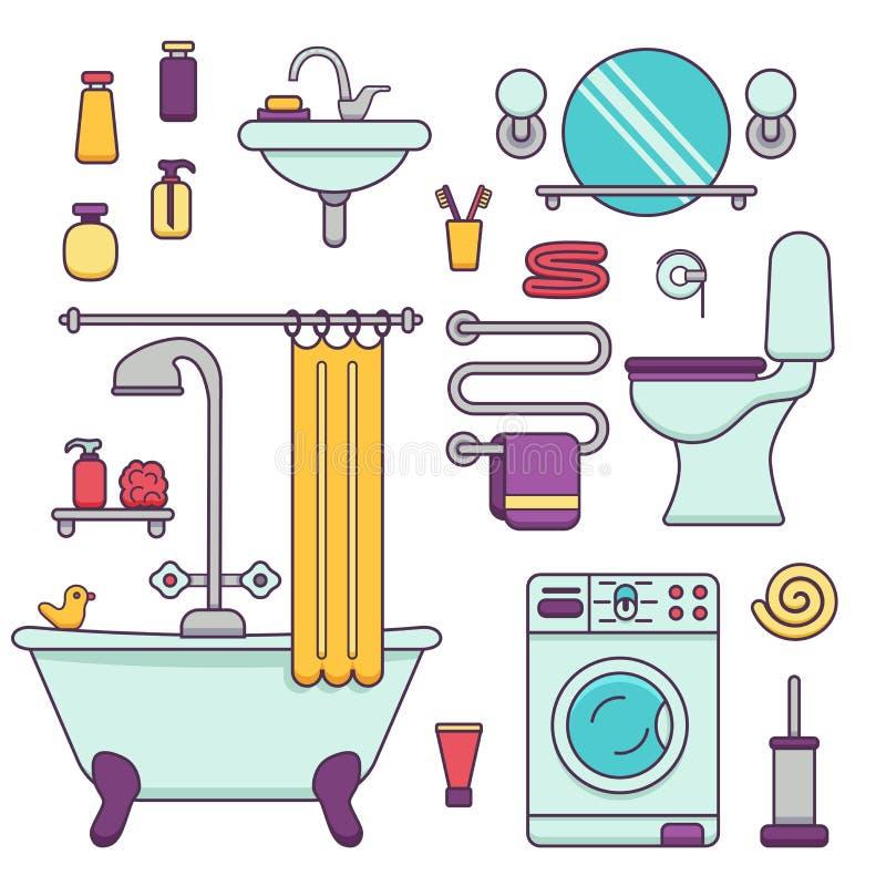 Iconos del equipo del baño hechos en la línea estilo moderna ilustración del vector