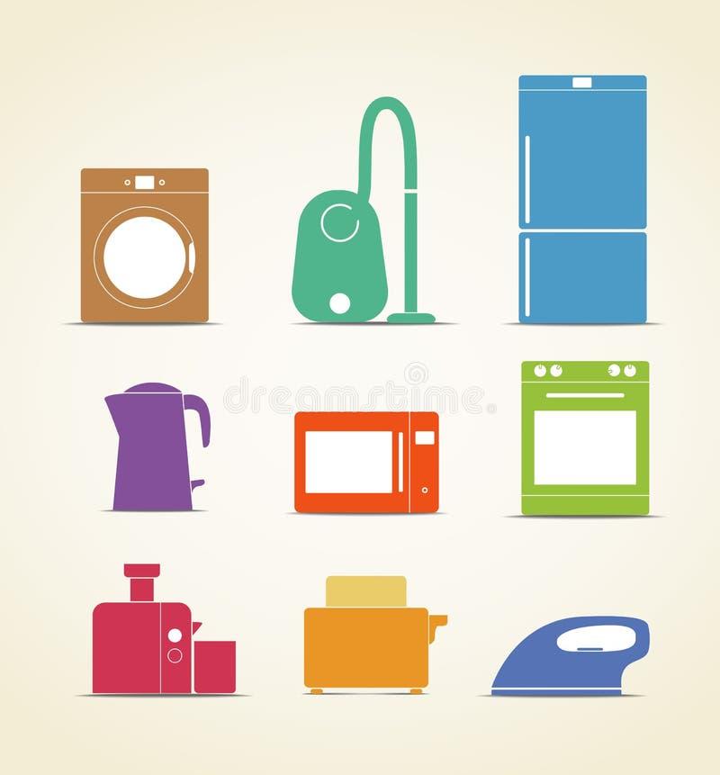 Iconos del equipo de la cocina stock de ilustración