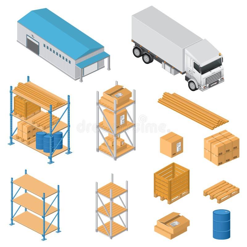 Iconos del equipo de Warehouse ilustración del vector