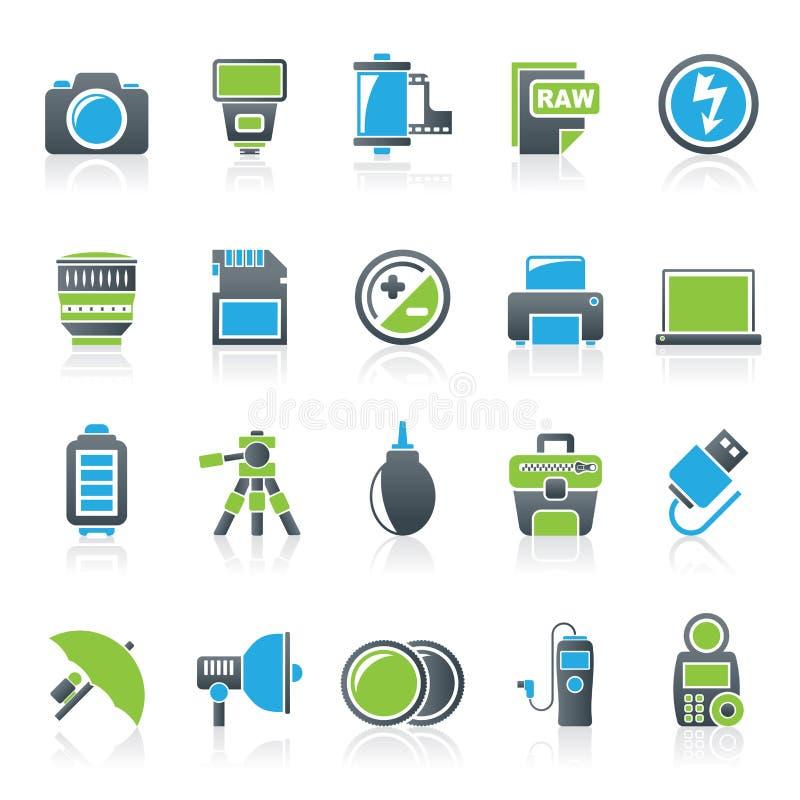 Iconos del equipo y de la fotografía de la cámara stock de ilustración