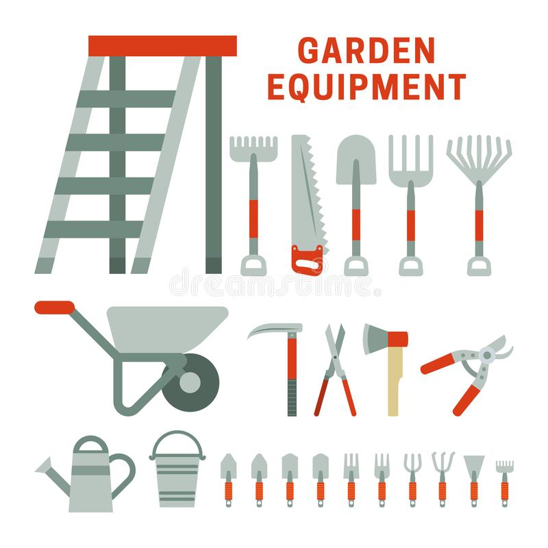 Iconos del equpment del jardín ilustración del vector