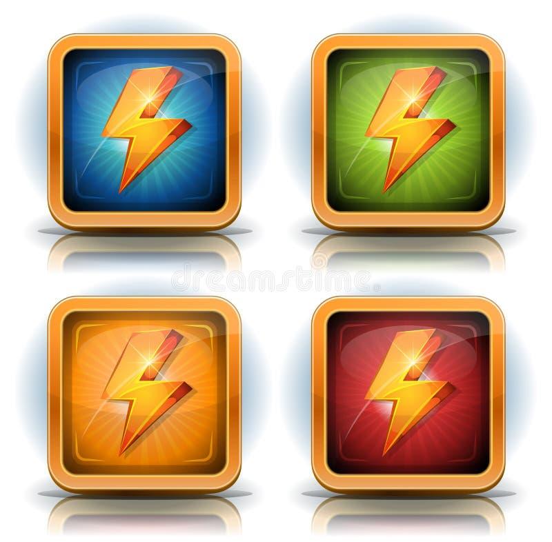 Iconos del escudo con los rayos para el juego Ui ilustración del vector