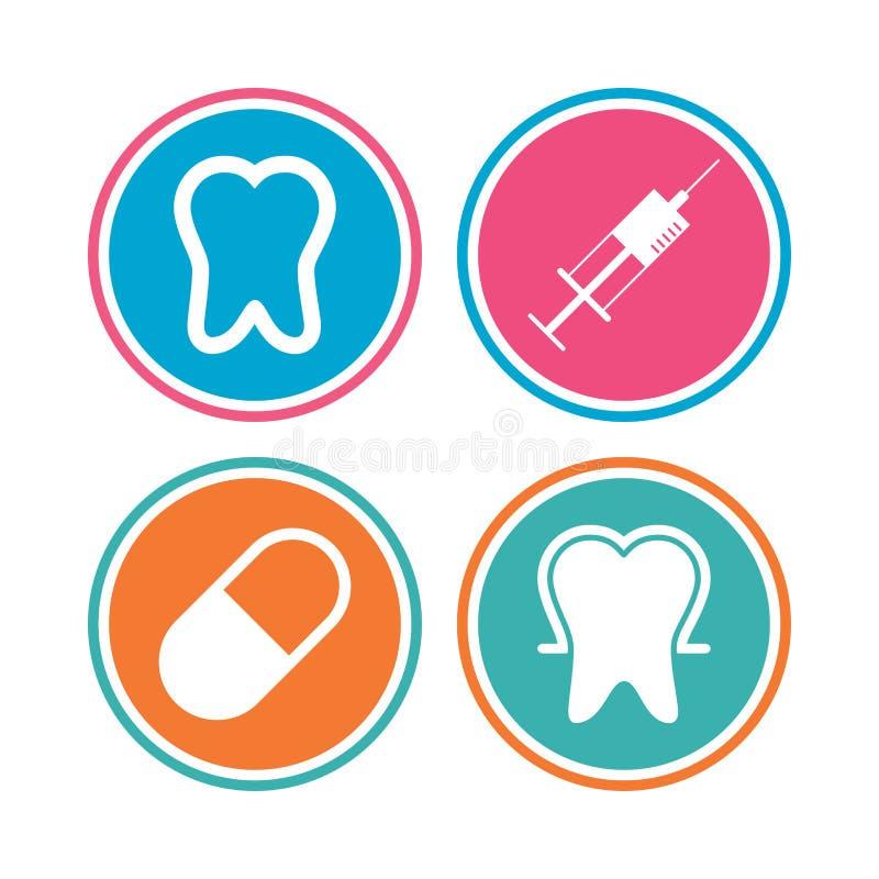 Iconos del esmalte de diente Jeringuilla y píldora médicas stock de ilustración