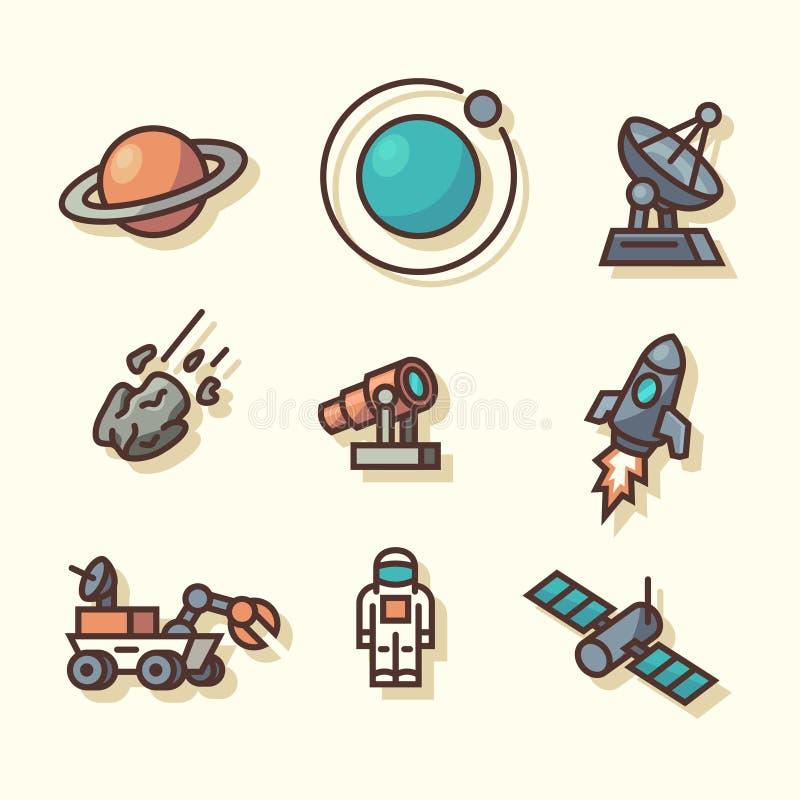 Iconos del espacio ilustración del vector