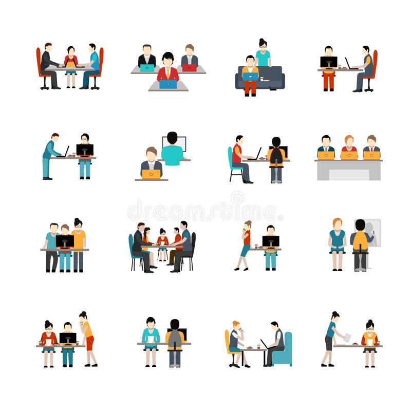 Iconos del espacio de Coworking fijados ilustración del vector