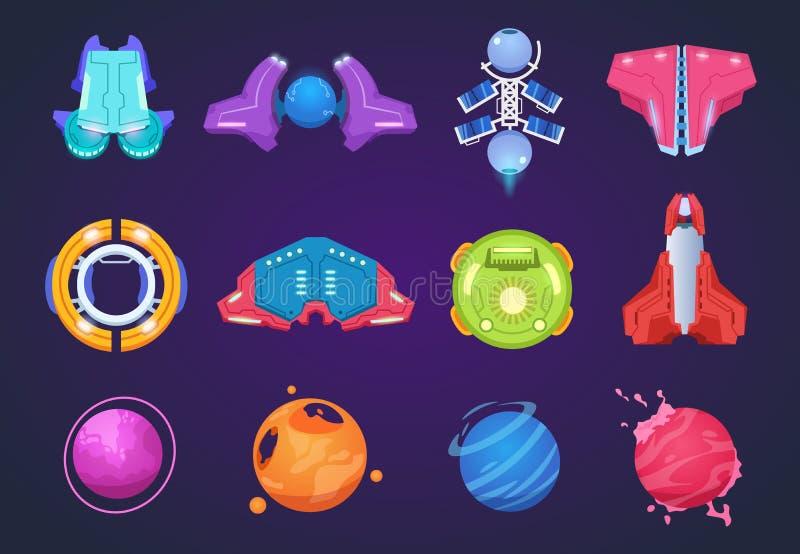 Iconos del espacio de la historieta Cohetes aeroespaciales y misiles del UFO de los planetas extranjeros de las naves espaciales  ilustración del vector