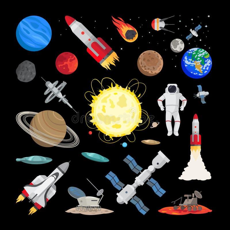 Iconos del espacio en estilo plano stock de ilustración