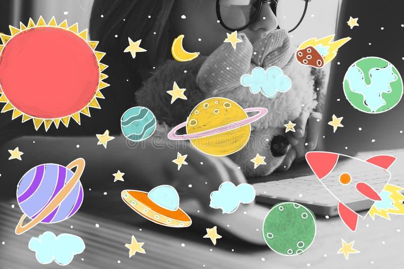 Iconos del espacio exterior que dibujan concepto de los gráficos libre illustration