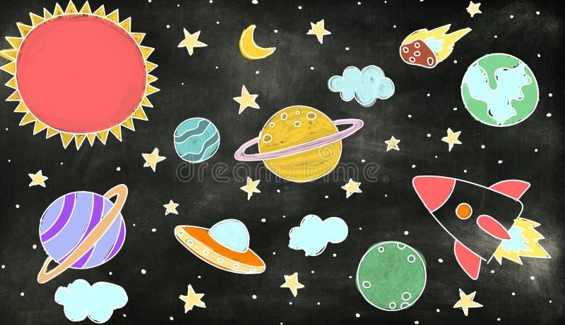 Iconos del espacio exterior que dibujan concepto de los gráficos ilustración del vector