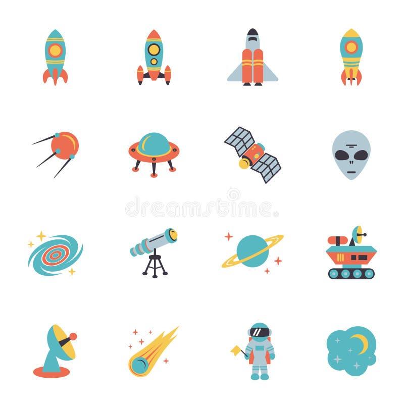 Iconos del espacio fijados stock de ilustración
