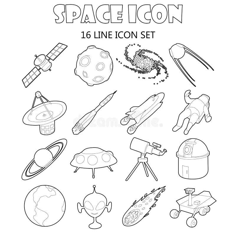 Iconos del espacio fijados en estilo del esquema stock de ilustración