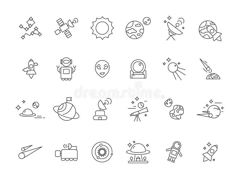 Iconos del espacio linear Resúmase a los astronautas de la lanzadera en la luna y los diversos satélites de los planetas Mono lín stock de ilustración