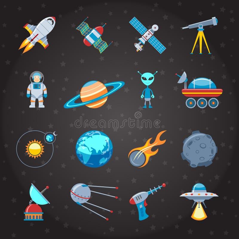 Iconos del espacio y de la astronáutica fijados libre illustration