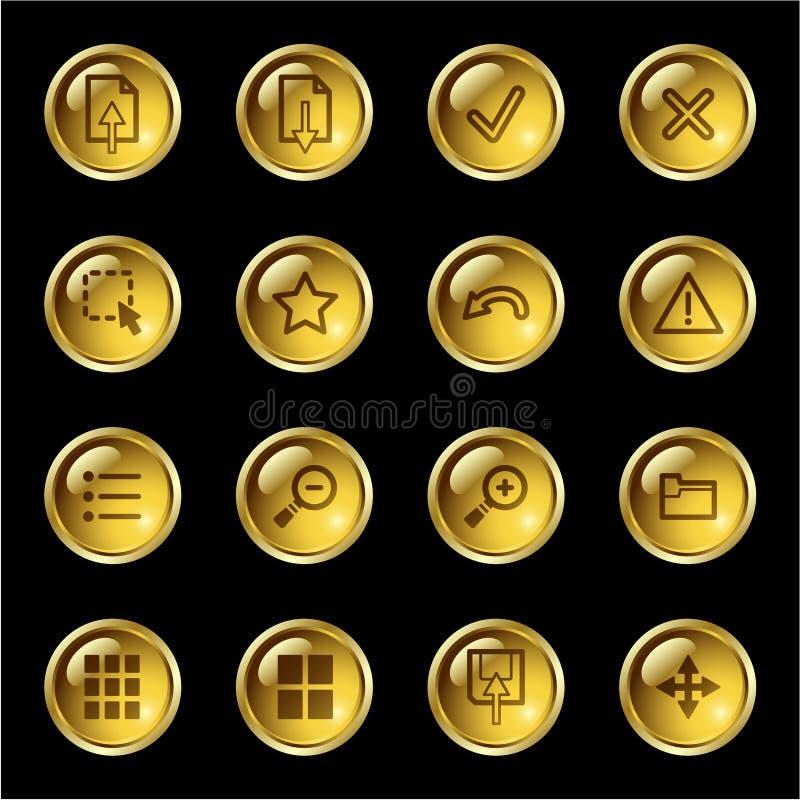Iconos del espectador de la imagen de la gota del oro ilustración del vector