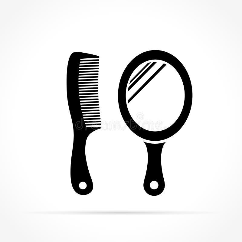 Iconos del espejo y del peine ilustración del vector