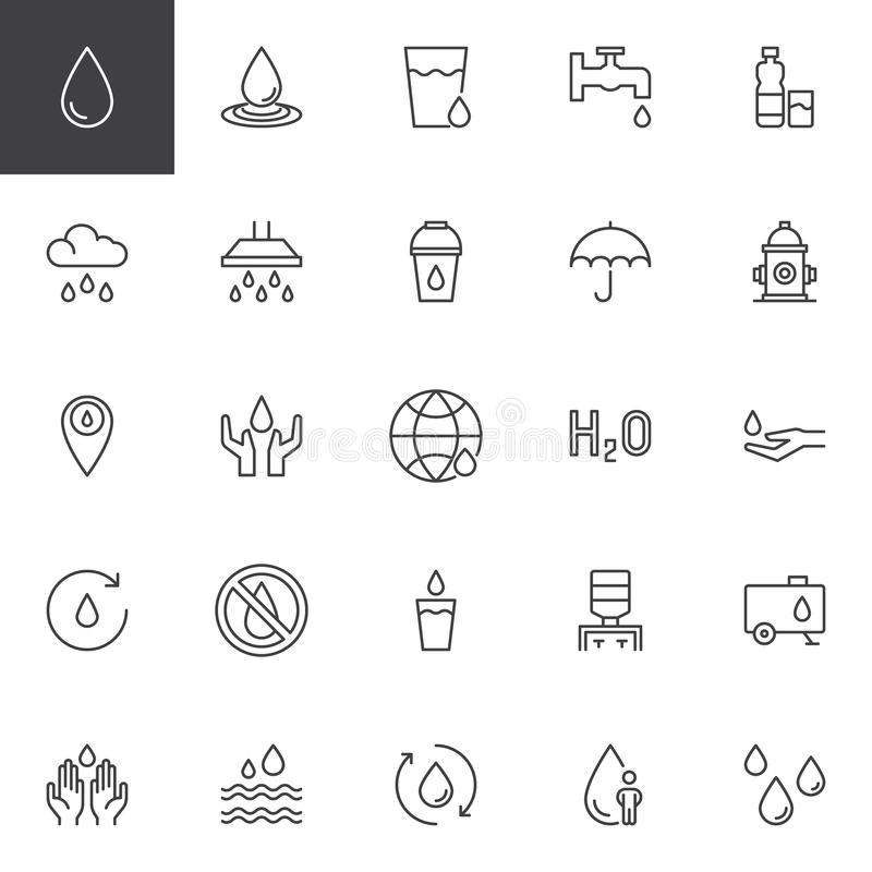 Iconos del esquema del agua fijados stock de ilustración