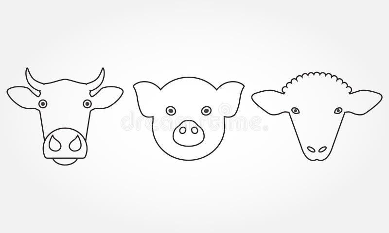 Iconos del esquema del animal del campo fijados Vaca, cabeza del cerdo y de las ovejas o símbolos de la cara aislados en el fondo ilustración del vector