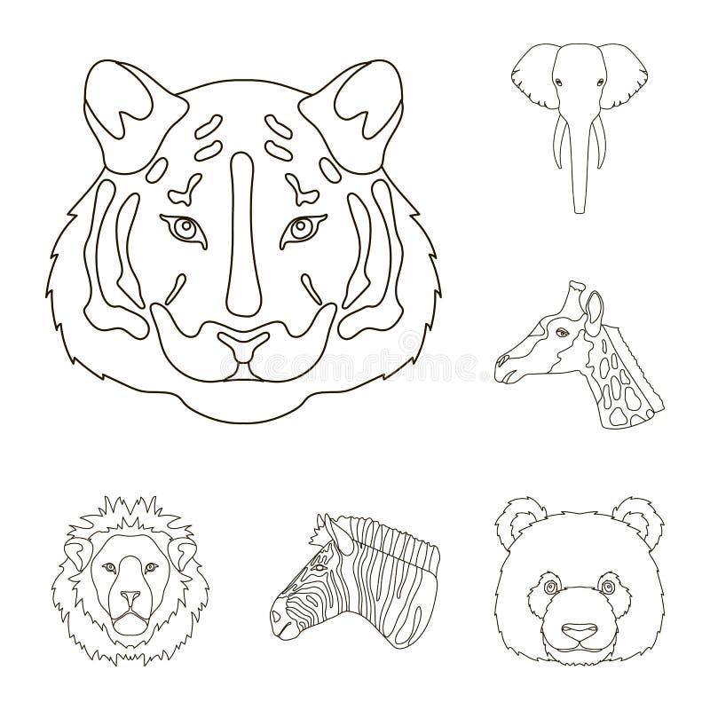 Iconos del esquema del animal salvaje en la colección del sistema para el diseño El mamífero y el pájaro vector el ejemplo común  libre illustration