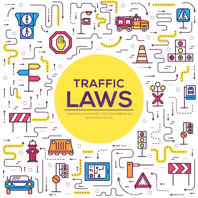 Iconos del esquema del día del semáforo y del código de carretera fijados Vector la línea fina ejemplo urbano del transporte del  libre illustration