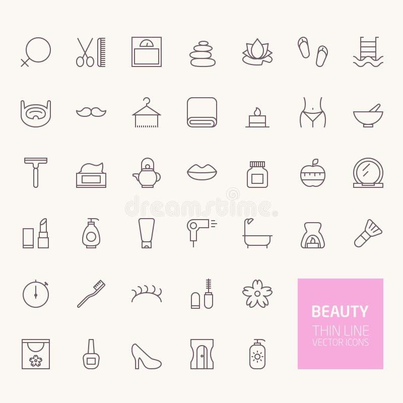 Iconos del esquema de la belleza stock de ilustración