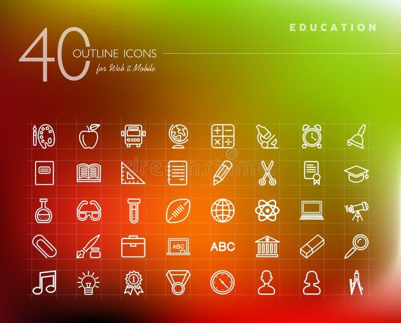 Iconos del esquema de la educación fijados stock de ilustración