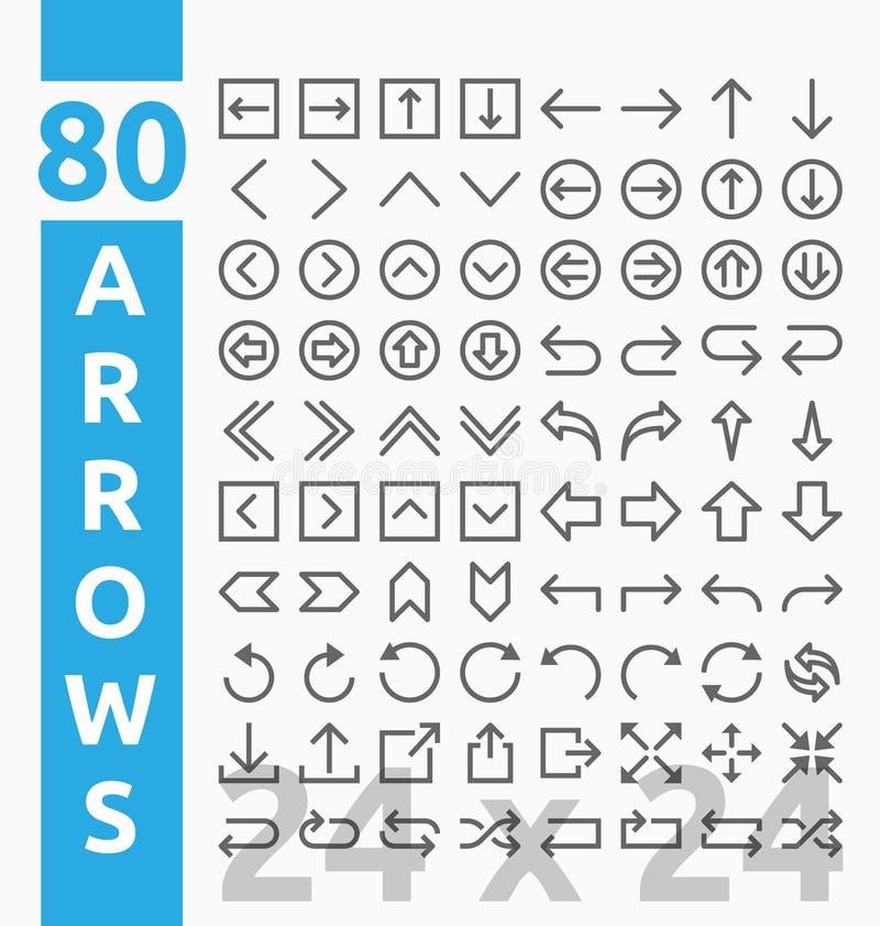 80 iconos del esquema de la flecha para la interfaz de usuario y el proyecto Web ilustración del vector