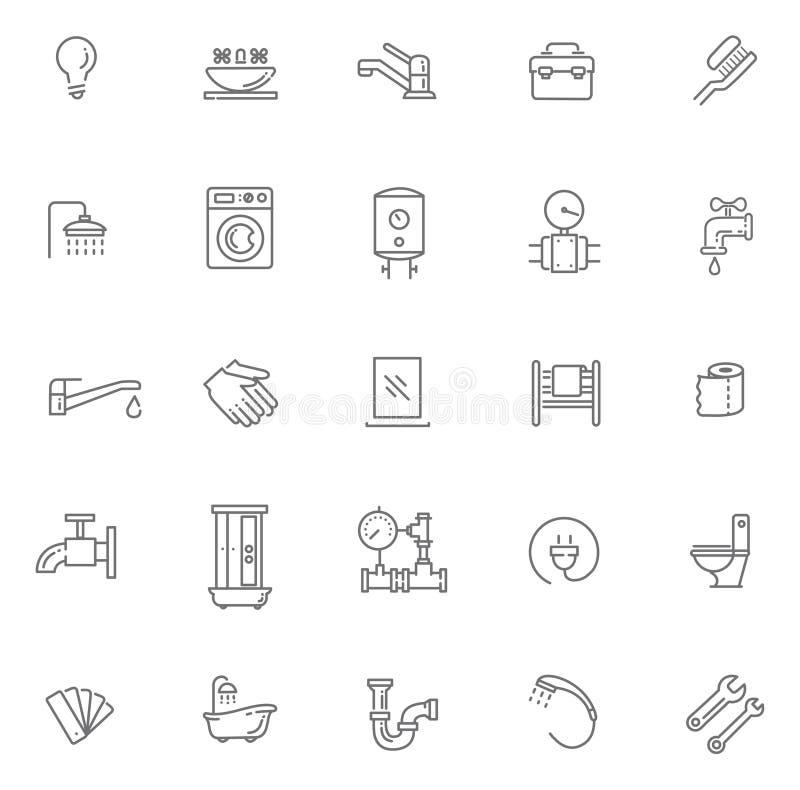 Iconos del esquema de la fontanería del vector fijados ilustración del vector