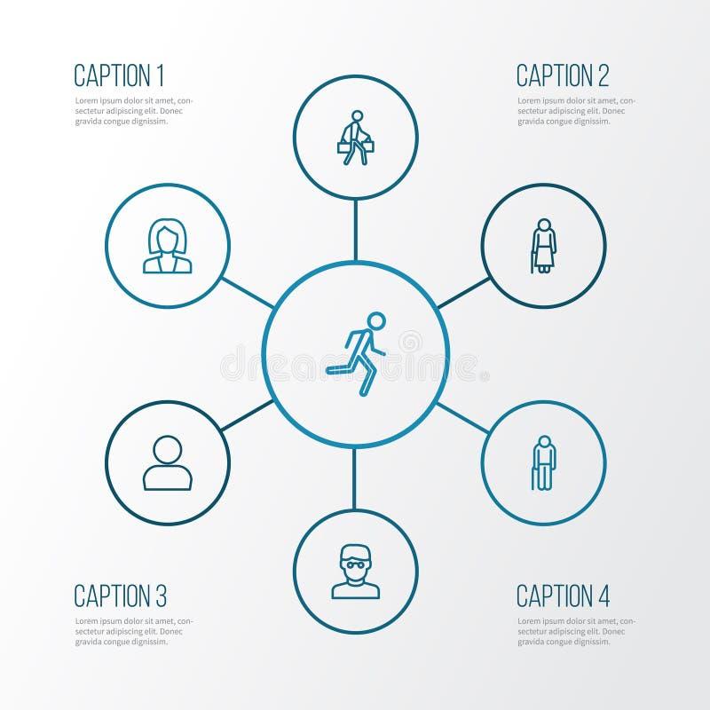 Iconos del esquema de la gente fijados Colección de perfil, de hombre elegante, de funcionamiento y de otros elementos También in ilustración del vector