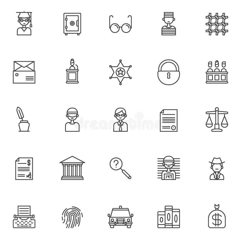 Iconos del esquema de la justicia fijados ilustración del vector