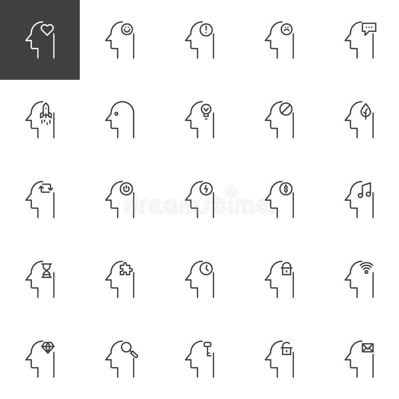Iconos del esquema de la mente humana fijados ilustración del vector