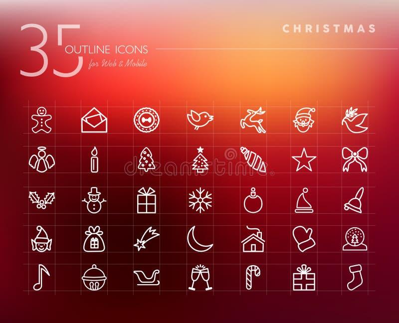 Iconos del esquema de la Navidad fijados ilustración del vector