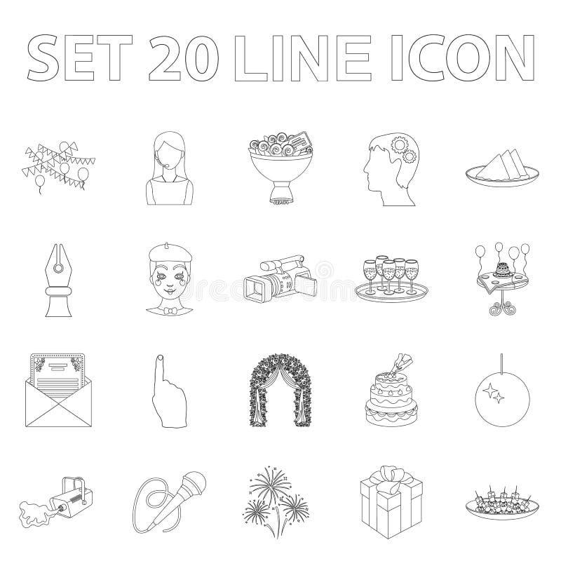 Iconos del esquema de la organización del evento en la colección del sistema para el diseño Web de la acción del símbolo del vect libre illustration