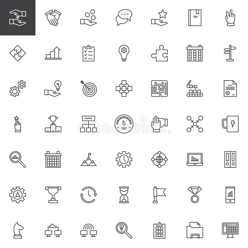 Iconos del esquema de la productividad del trabajo fijados ilustración del vector