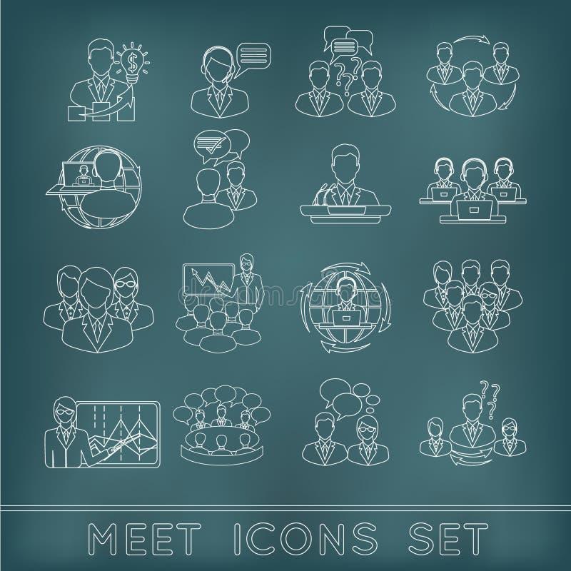 Iconos del esquema de la reunión fijados stock de ilustración