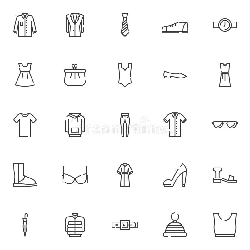Iconos del esquema de la ropa fijados stock de ilustración