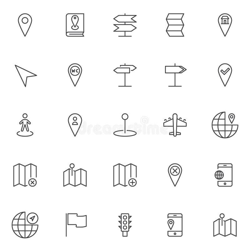 Iconos del esquema de la ubicación y de la navegación fijados stock de ilustración