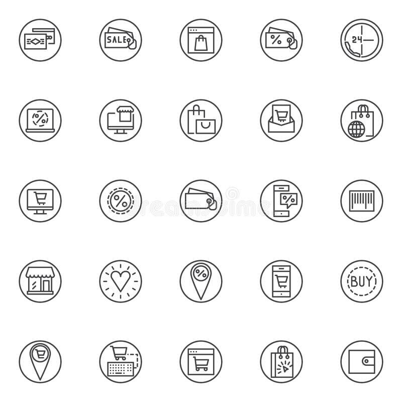 Iconos del esquema de los elementos del comercio electrónico fijados stock de ilustración