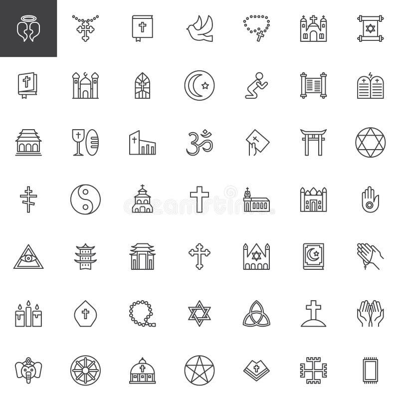 Iconos del esquema de los elementos de la religión fijados ilustración del vector