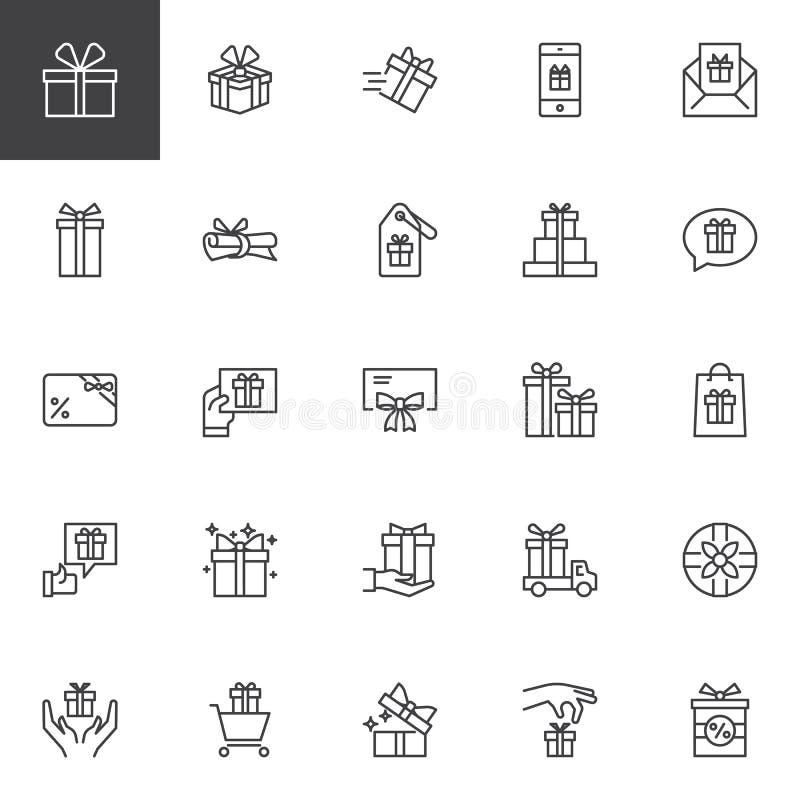 Iconos del esquema de los regalos fijados stock de ilustración