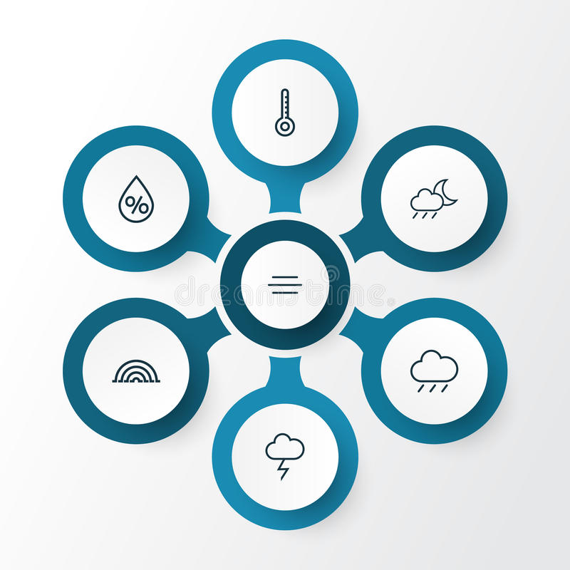 Iconos del esquema del aire fijados Colección de viento, de temporal de lluvia, de temperatura y de otros elementos También inclu ilustración del vector