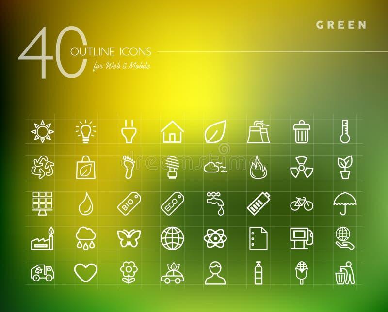 Iconos del esquema del cine y de la película fijados stock de ilustración